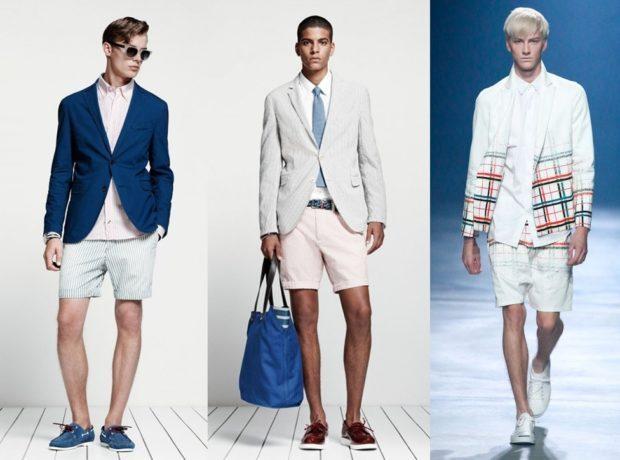 шорты по колено под пиджак синий белый белый с клеткой