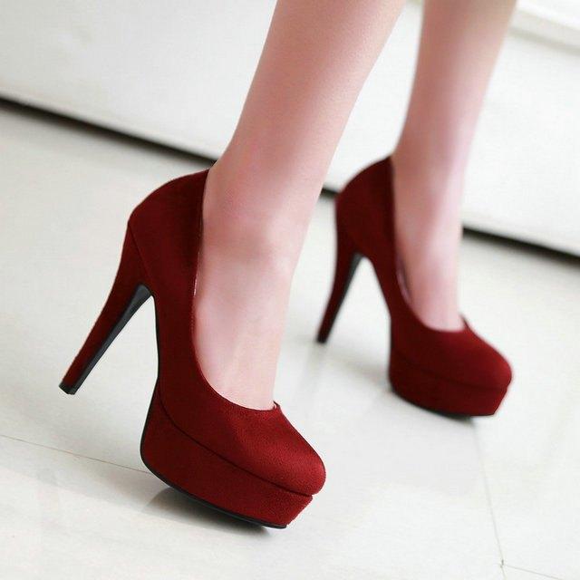 туфли красные замша на каблуке