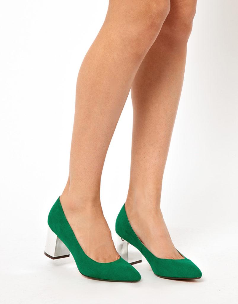 туфли зеленые на серебристом каблуке