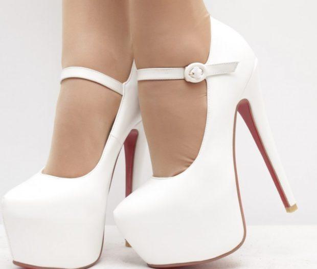 туфли на высоком каблуке белые с застежкой