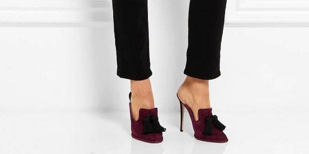 туфли на высоком каблуке бордовые открытая пятка