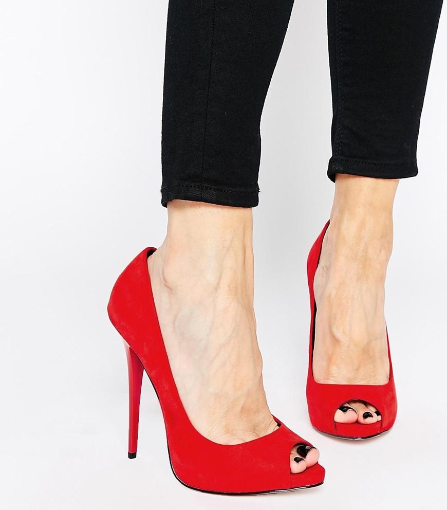 туфли на высоком каблуке красные открытый носок