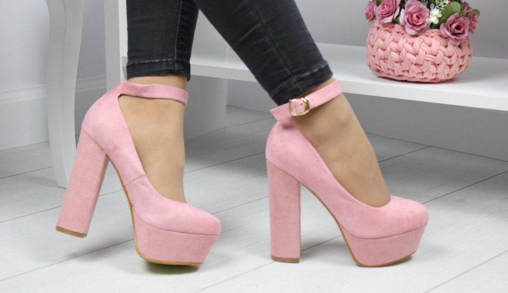 туфли на высоком толстом каблуке розовые