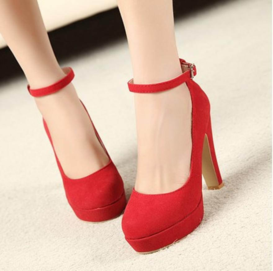 туфли на высоком каблуке красные на застежке