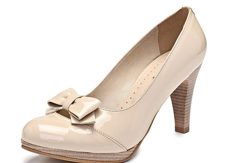 туфли на среднем каблуке бежевые с бантиком