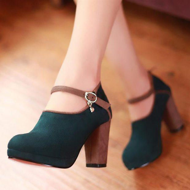 туфли на среднем каблуке зеленые замша с застежкой