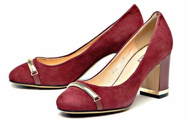 туфли на среднем каблуке бордовые с золотом