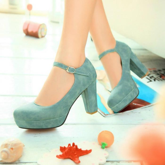 туфли на среднем каблуке зеленые с застежкой