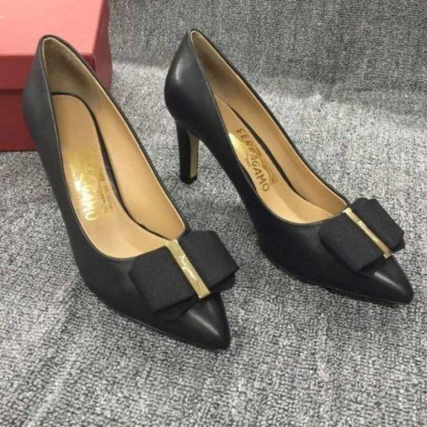 туфли на среднем каблуке черные с бантиком