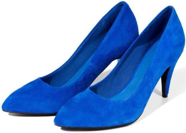 туфли на среднем каблуке синие лодочки замша