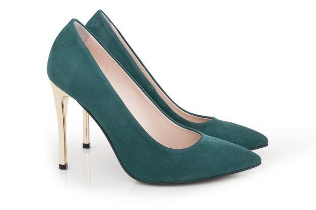 туфли весна лето: зеленые лодочки каблук золотой