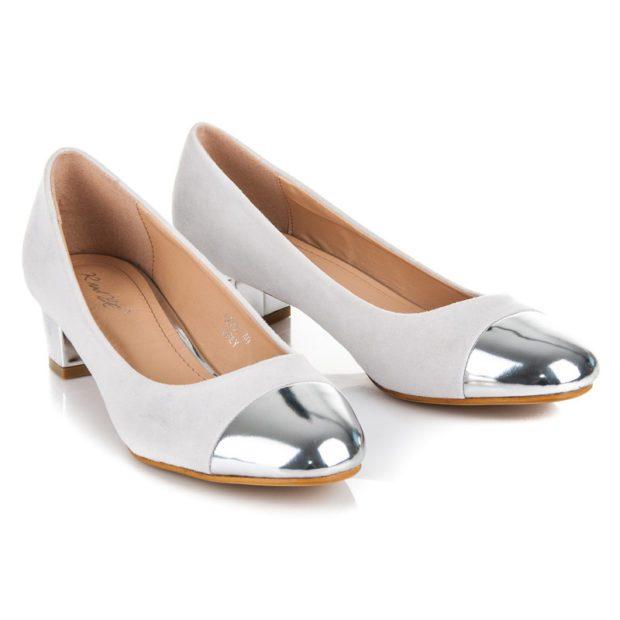 туфли на низком каблуке белые с серебристым носком