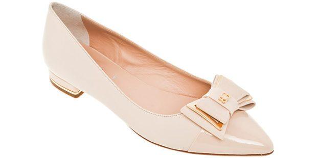 туфли на низком каблуке бежевые с бантиком