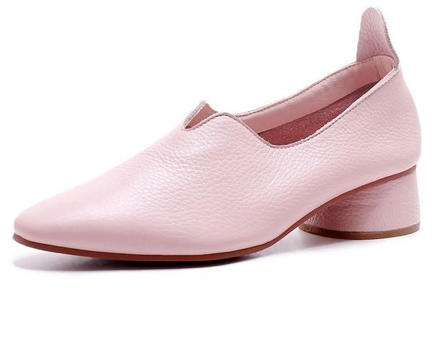 туфли на низком каблуке розовые кожаные