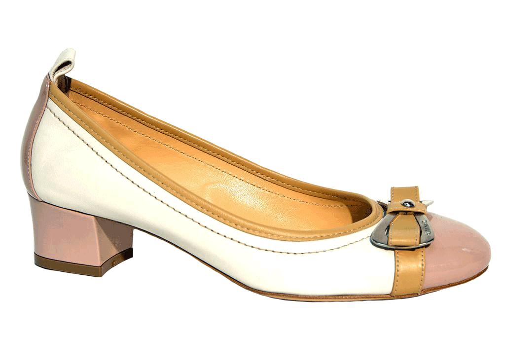 туфли на низком каблуке белые с розовым