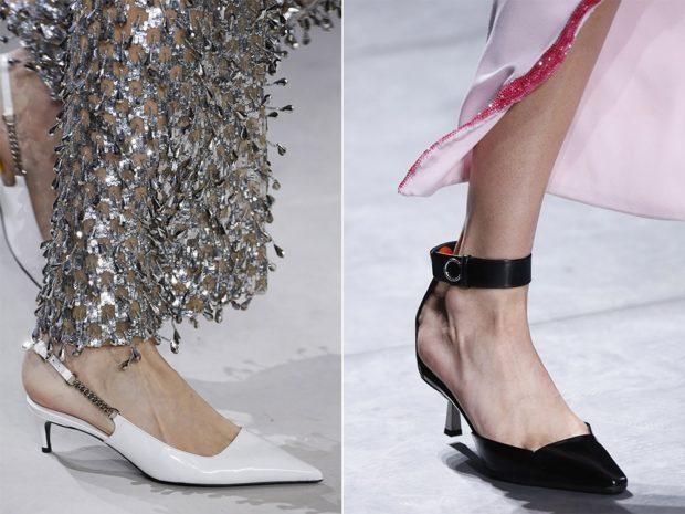 туфли на низком каблуке черные белые с острым носком
