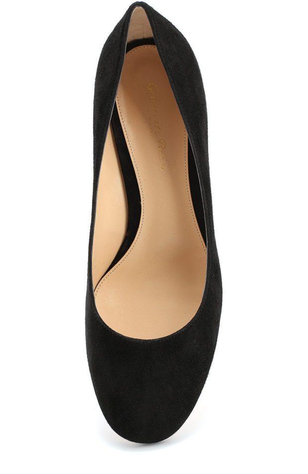туфли на низком каблуке черные замша