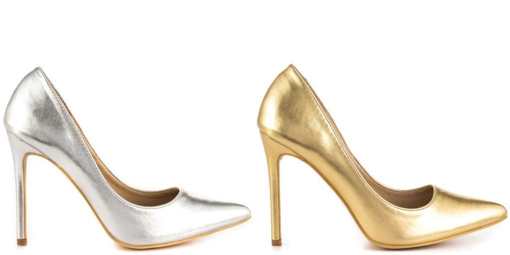 туфли лодочки серебристые золотые