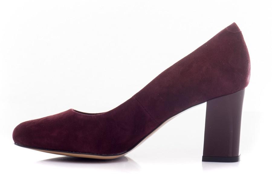туфли бордовые на каблуке замша