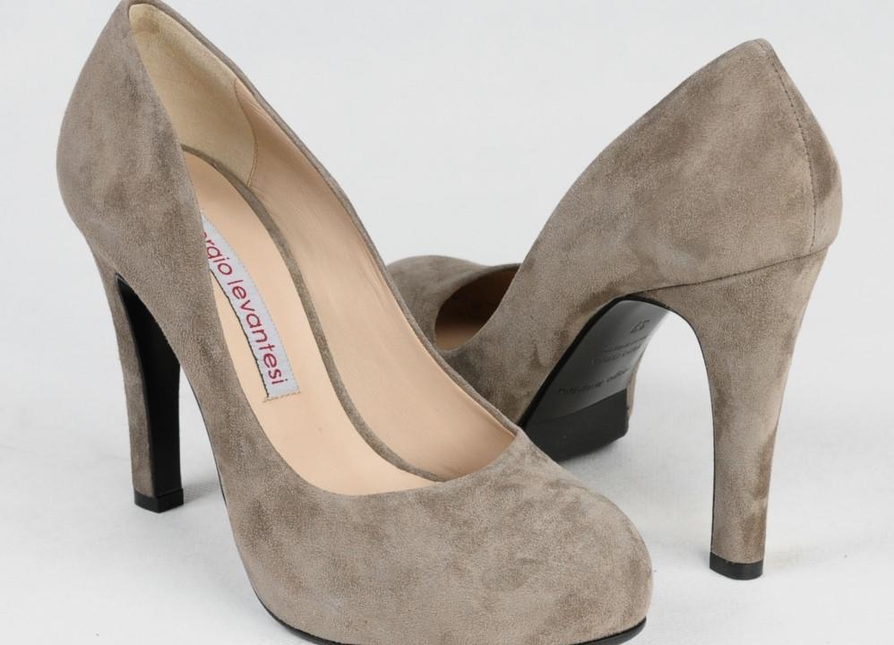 туфли замшевые серые на каблуке