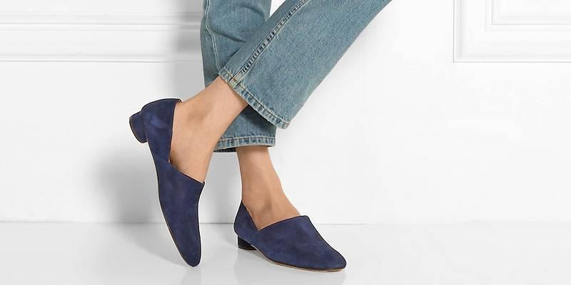 туфли замшевые синие на низком каблуке