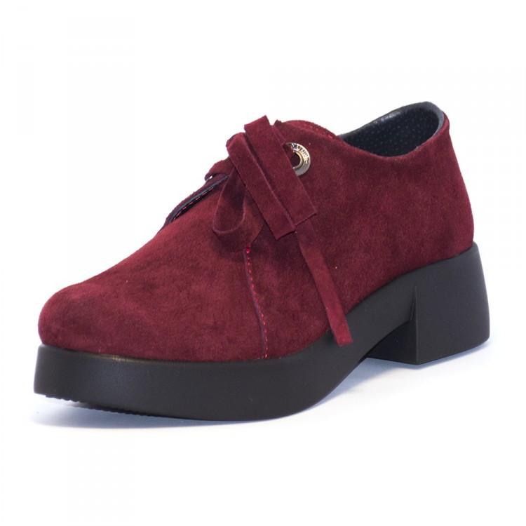 туфли замшевые бордовые на толстой черной подошве