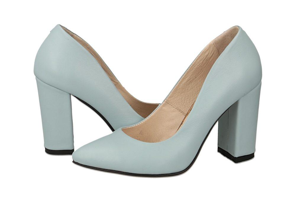 женские туфли кожаные лодочки на толстом каблуке