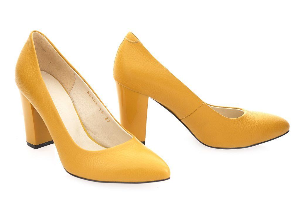 туфли весна лето: желтые на толстом каблуке