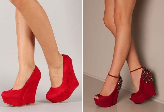 туфли на танкетке красные