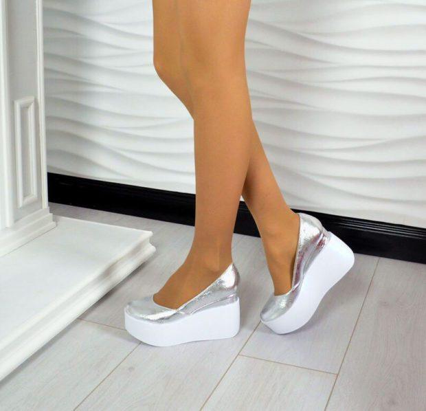 туфли на танкетке серебристые
