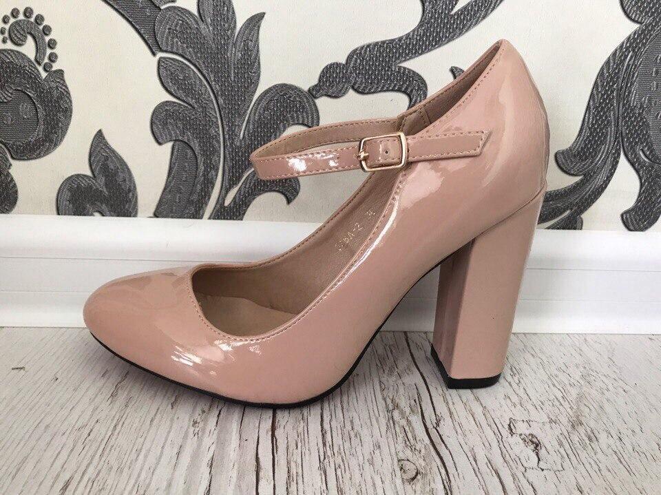 туфли с застежкой бежевые на толстом каблуке
