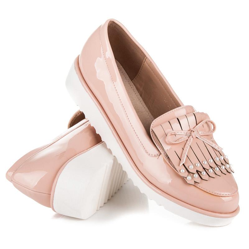 туфли лоферы на белой подошве