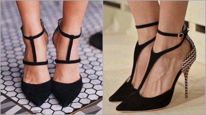 туфли с открытыми боками черные на шпильке