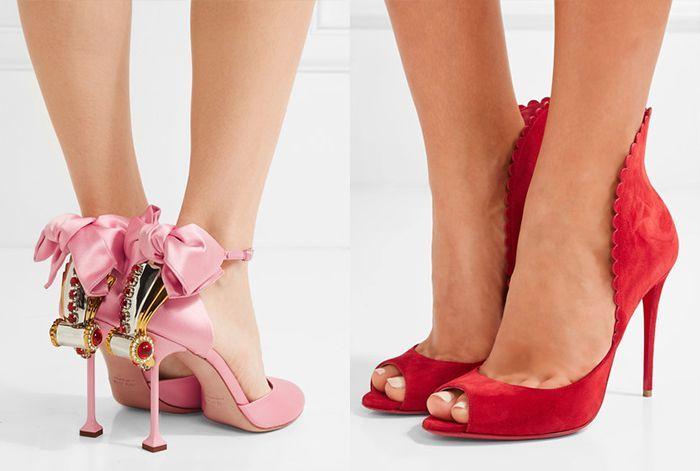 туфли с открытыми боками розовые красные на шпильке