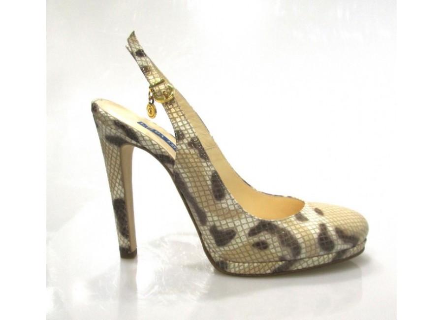 туфли с открытой пяткой на каблуке кожа питона