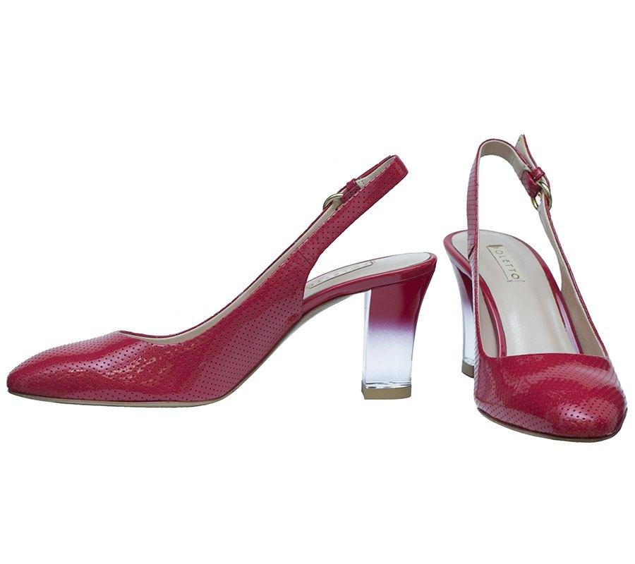 туфли с открытой пяткой красные кожаные