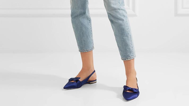 туфли с открытой пяткой синие на низком ходу с бантом