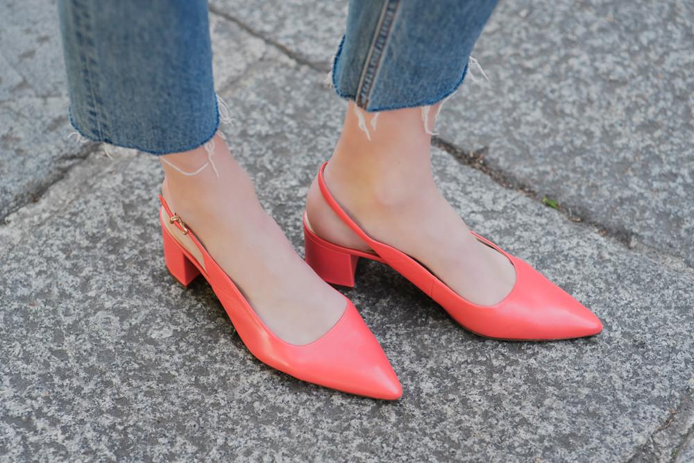 туфли с открытой пяткой с острым носком коралловые